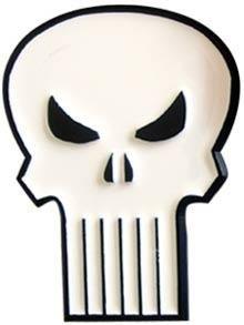 white Punisher belt buckle