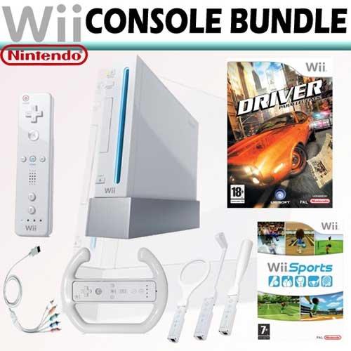 Nintendo Wii Console Bundle + Driver Parallel Lines