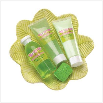 #36375 Bath Set On Green Leaf Dish