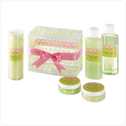 #36377 Sweet Pea Bath Set-beaded Box