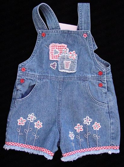 Green Dog Tiki Beach Denim Patchwork Overalls 12M 12 M New