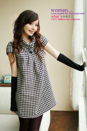 Short Sleeve Winter Dress Gray L Size