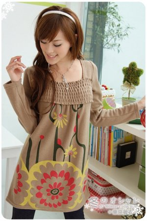 Blue Casual Winter Dress Free Size (Brown)