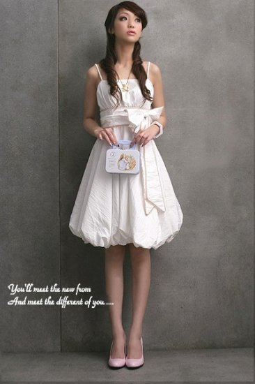 D27-White pouf dress