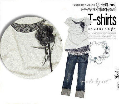 Mock-layered top (black lace with dark grey, not white)