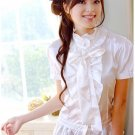 White satin frilly top