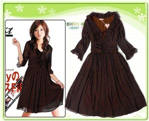 D26-Brown tiny-polka print dress