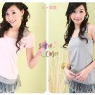 T36-Slip tank with lacy hem - Grey