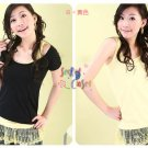 T35-Slip tank with lacy hem - Yellow