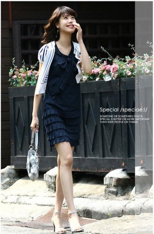 Tiered low-waist shift dress - dark blue