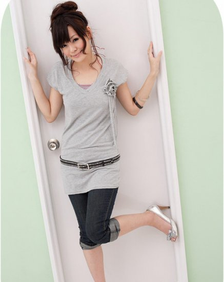 Long top with flower - Grey