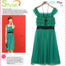 D24-Elegant tiered top dress with sequin sash - Green