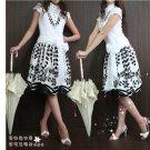 Victorian B&W print dress