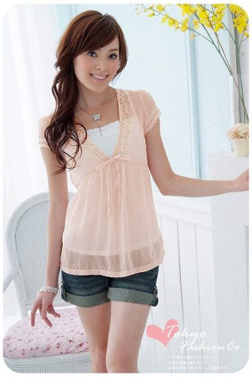 Soft sheer top with inner slip - pink