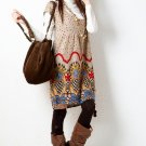 D18-Tribal print dress - Apricot
