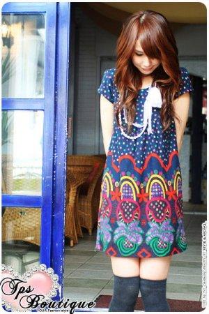 D17-Tribal print dress - Blue