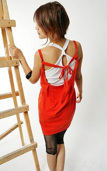 T26-Red & white layered tank