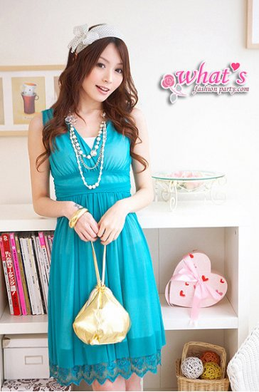 D15-Goddess chiffon dress with hem details - turquoise