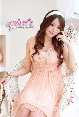 D14-Goddess chiffon dress with hem details - pink