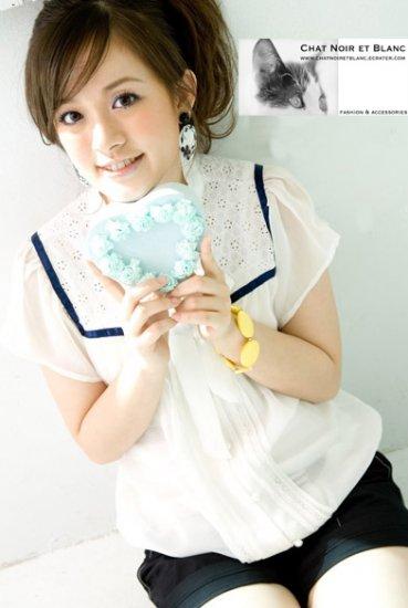 T50-White blouse w/ blue trim