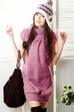 T17-Winter knitted woolen cap-sleeve pullover - pink