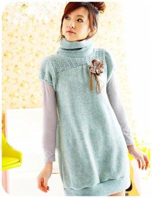 T18-Winter knitted woolen cap-sleeve pullover - blue