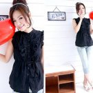T22-Sleeveless ruffled top - Black
