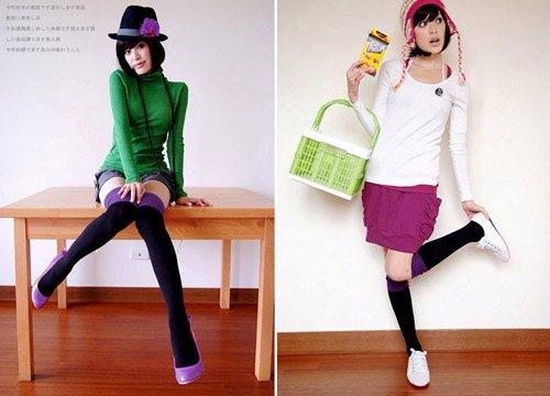 A2-Trendy Multi-Match Knee Socks - Purple