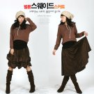 S2-Chamois Leather 2 Ways Wear Skirt - brown