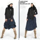 S1-Chamois Leather 2 Ways Wear Skirt - Navy