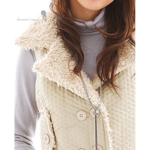 T13-Padded Cotton Fleece Rider Vest (w/ Waistband) - Almond