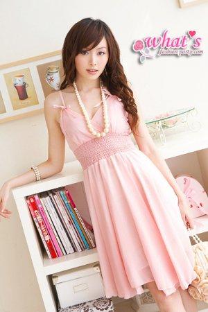 D16-Goddess chiffon dress - pink