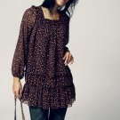 T5-Flowy Chiffon Blouse - Brown