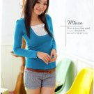 T2-Long sleeve mock layered pullover - Blue