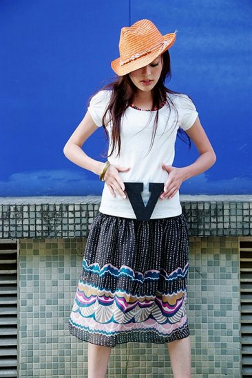 Bohemia Prints Chiffon Skirt - Black
