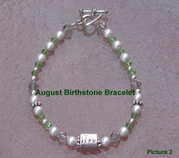 August Birthstone Family Bracelet