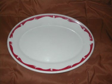 "Homer Laughlin Best China 10.5"" Oval Platter Transferware Red & White"