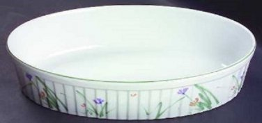 Mikasa Ceramic Oval Serving Or Baking Dish Sketch Book Pattern 12 1/4""