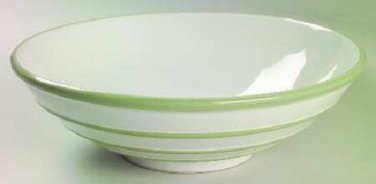 "Pfaltzgraff Round Vegetable Bowl Green Stripes Sphere Pattern 9"" Excellent !"