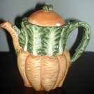 Vintage Design Pac Teapot Green And Orange 6 1/2""