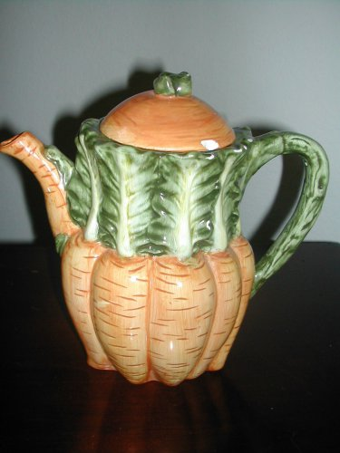 "Vintage Design Pac Teapot Green And Orange 6 1/2"""