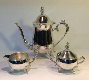 International Silver Co. Tea Set Teapot Creamer & Covered Sugar Bowl Silverplate