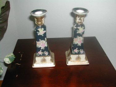2 Vintage Candle Holders By H.F.P. Macau Floral Design Gold Trim Blue And Pink