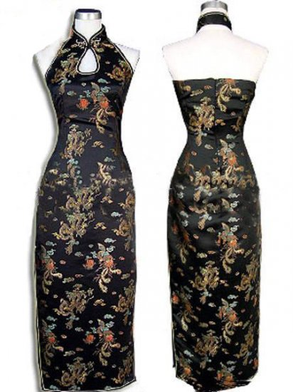 Black Chinese Backless Evening Gown/Qipao