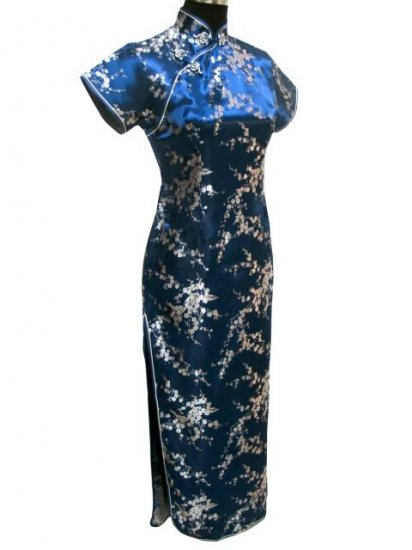 Navy Blue Clubs Chinese Dress Cheong-sam/Qipao