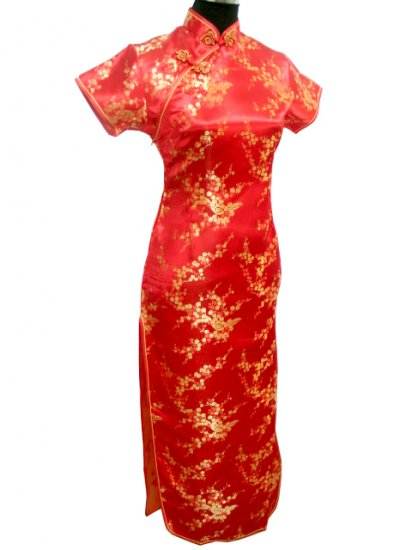 Red Clubs Chinese Dress Cheong-sam/Qipao