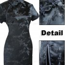 Black Cute Clubs Mini Chinese Dress / Qipao