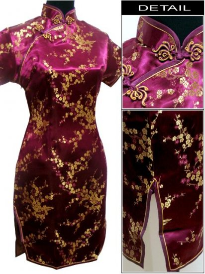 Burgundy Cute Clubs Mini Chinese Dress / Qipao