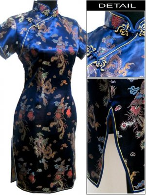 Blue Gragon and Phoenix Mini Chinese Dress / Qipao