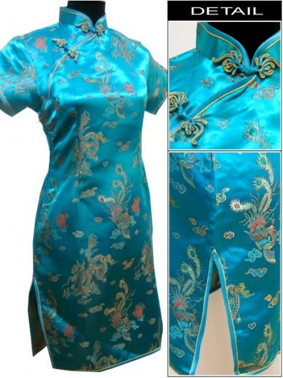 Lake Blue Gragon and Phoenix Mini Chinese Dress / Qipao